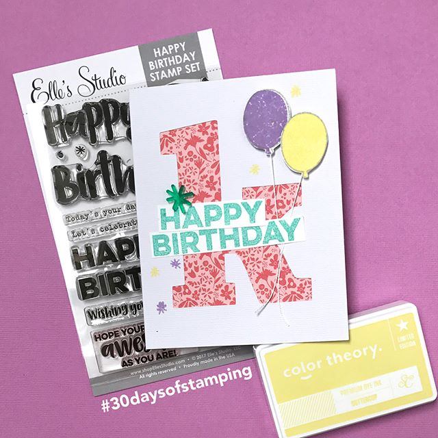 No 28/30 | Slowly but surely y'all! Here's my latest #30daysofstamping project, a birthday card for my bestie. Features an #ellesstudio stamp set (#affiliated) that I hadn't used before. Included a direct link in my profile to it. . . . . . #30dayartchallenge #30dayproject #30days #30dayschallenge #30daysofstamping #clearstamp #clearstamps #papercraft #papercrafting #scrapbook #scrapbooking #stamp #stamping #stamps #jamieleija #cards #cardmaking
