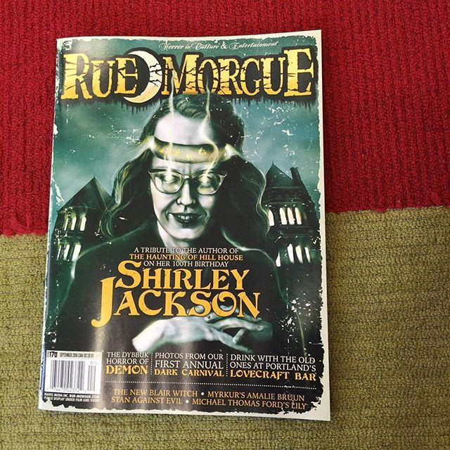 @ruemorguemag featuring the great Shirley Jackson. Her book, The Haunting of Hill House, is one of the ones discussed in our haunted houses episode series. Magazine also features one of our hosts, Mel! #horror #ruemorgue #shirleyjackson #hauntedhouse