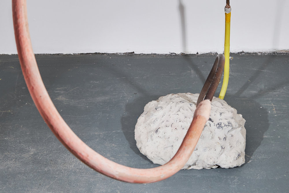 Ro Noonan,  Weigh better,  2017, steel, plastic, plaster, metal, concrete, Sculpey, Apoxie Sculpt, pipe/s, dimensions variable. Courtesy the artist. Image Credit: Tasha Tylee.