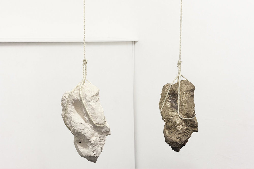 Jamie Hall,  Rock System ||| , [detail], 2016, porcelain, steel dowel, wire, rope, bronze, dimensions variable | Courtesy the artist