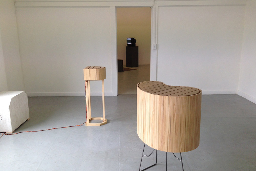 Henry Madin in collaboration with Brodie Wood Ensemble, 2014, Tasmanian Oak, pine, ply, steel, assorted electrical components, Dimensions variable.
