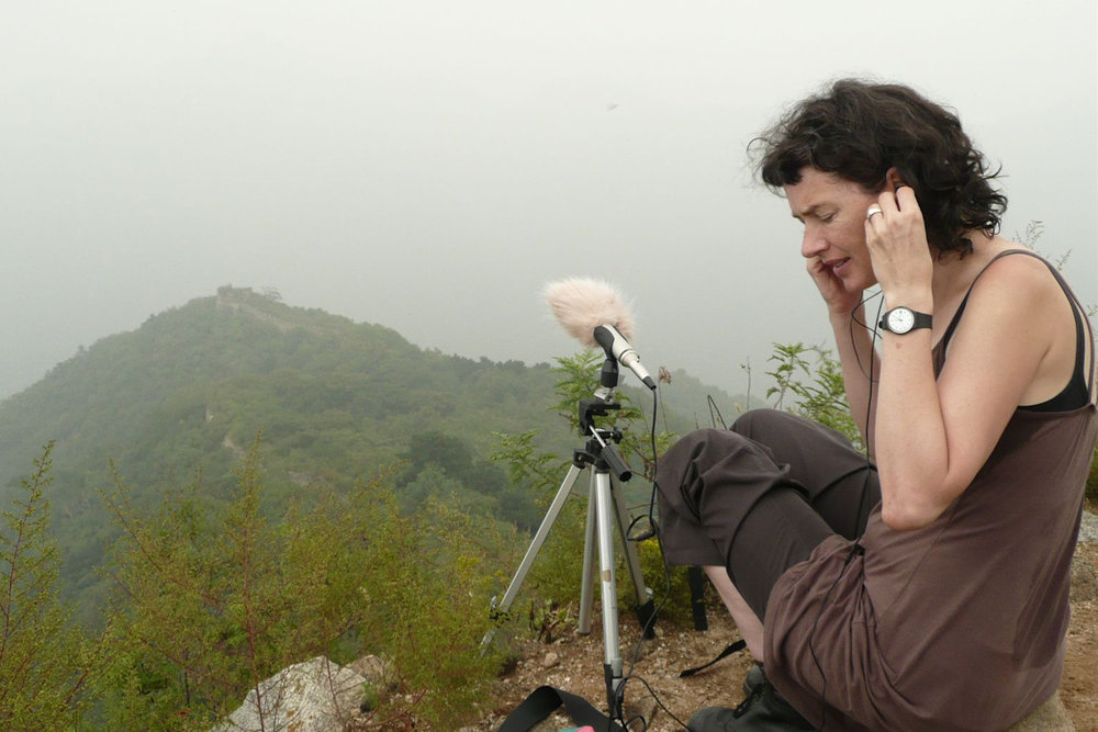 Catherine Clover Field recording on the Great Wall of China 2007.jpg