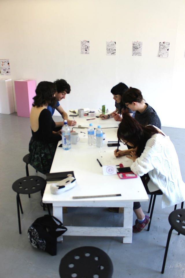 Julia-Trybala-Aaron-Billings-Collab-Comics-zine-making-workshop-31-Aug-2014.jpg
