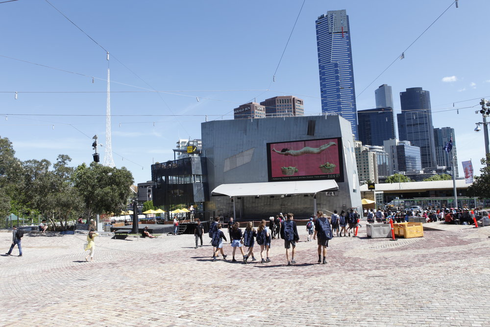 PLAY2, installation view at Federation Square, Melbourne, 2016. Kawita Vatanajyankur,  The Carrying Pole,  2015