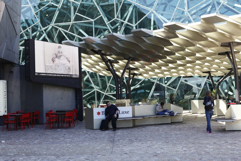 PLAY2, installation view at Federation Square, Melbourne, 2016. Norie Neumark+MariaMiranda,  Shredded: Stuplimity and the Aesthetics of NeoLiberalism , 2015