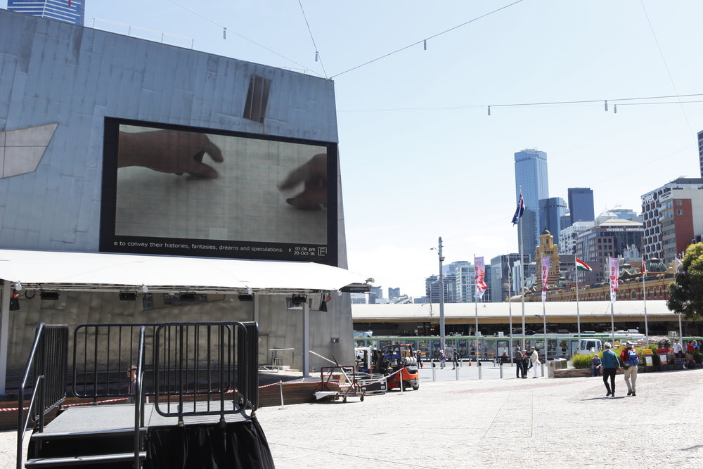 PLAY2, installation view at Federation Square: Pip Ryan,  Separation Anxiety,  2015, single channel video.