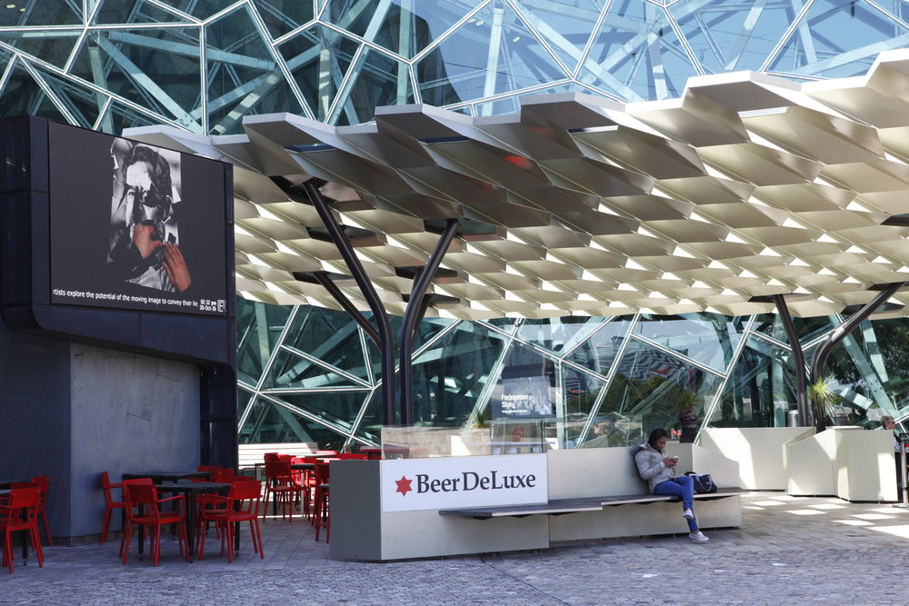 PLAY2, installation view at Federation Square, Melbourne, 2016. Rushdi Anwar,  Facing Living Past In The Present , 2015.
