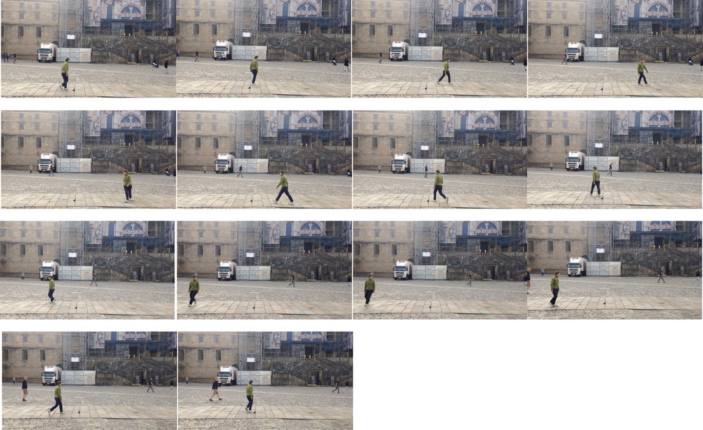 Sandra Bridie,  Sandra Bridie, b.1952. Walking Meditation, Santiago, Spain . Video still compilation of walking performance, 2015. Courtesy the artist.