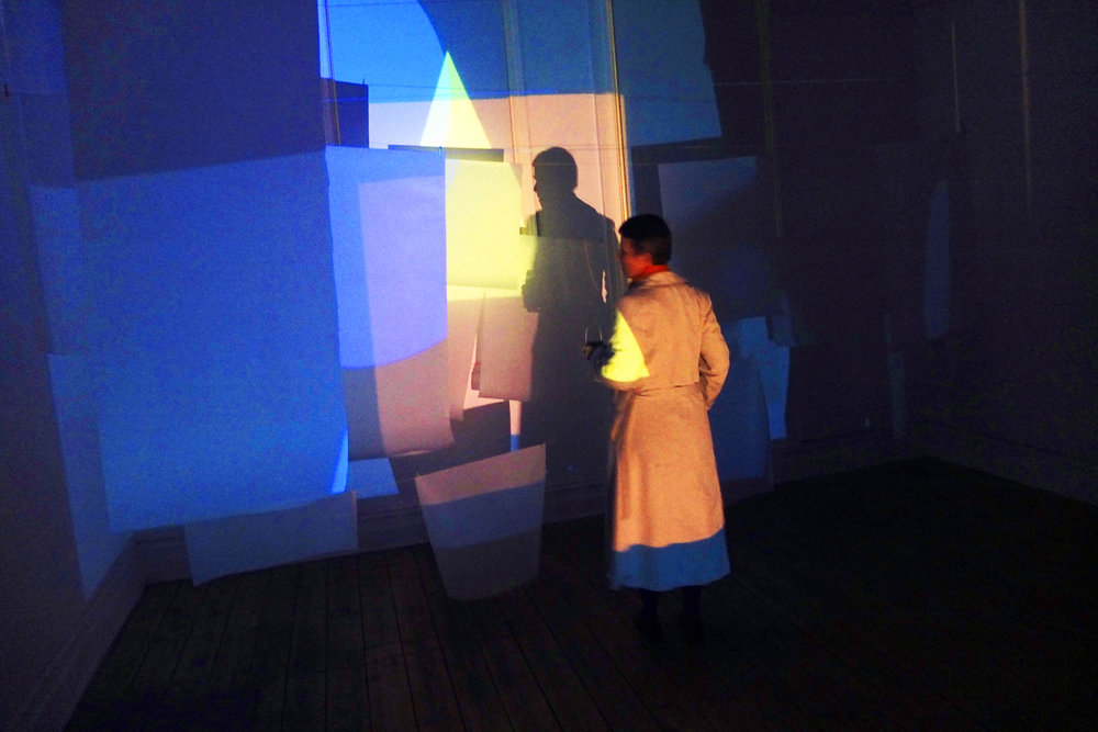 Sandra Bridie,  colour + form, revisiting Coloured Light Plays, artist's residency Berlin, 1980 . Digital documentation of performance and projection event, 2013. Courtesy the artist.