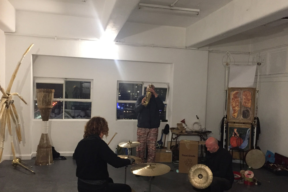 Gerard Crewdson / Jeff Henderson / Nat Grant / Sean Baxter / Jenny Ruth Barnes / The Charles Ives Singers performing at BLINDSIDE, 23 June 2018. Photo by Rachael Paintin. Courtesy the artist.