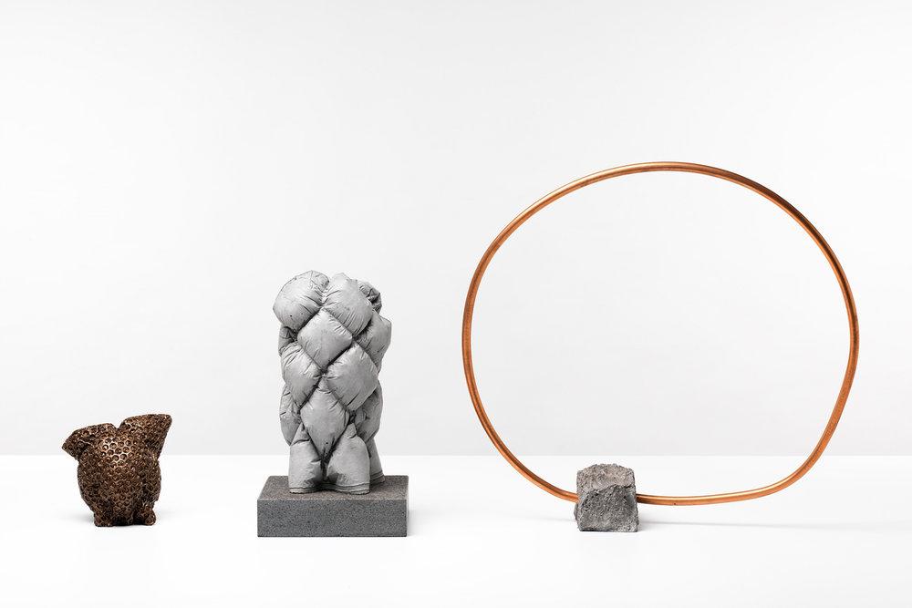 ANNA HORNE,  A Balancing Act (installation shot) , 2017, concrete, copper, aluminium, various. Photo Grant Hancock | Courtesy the artist