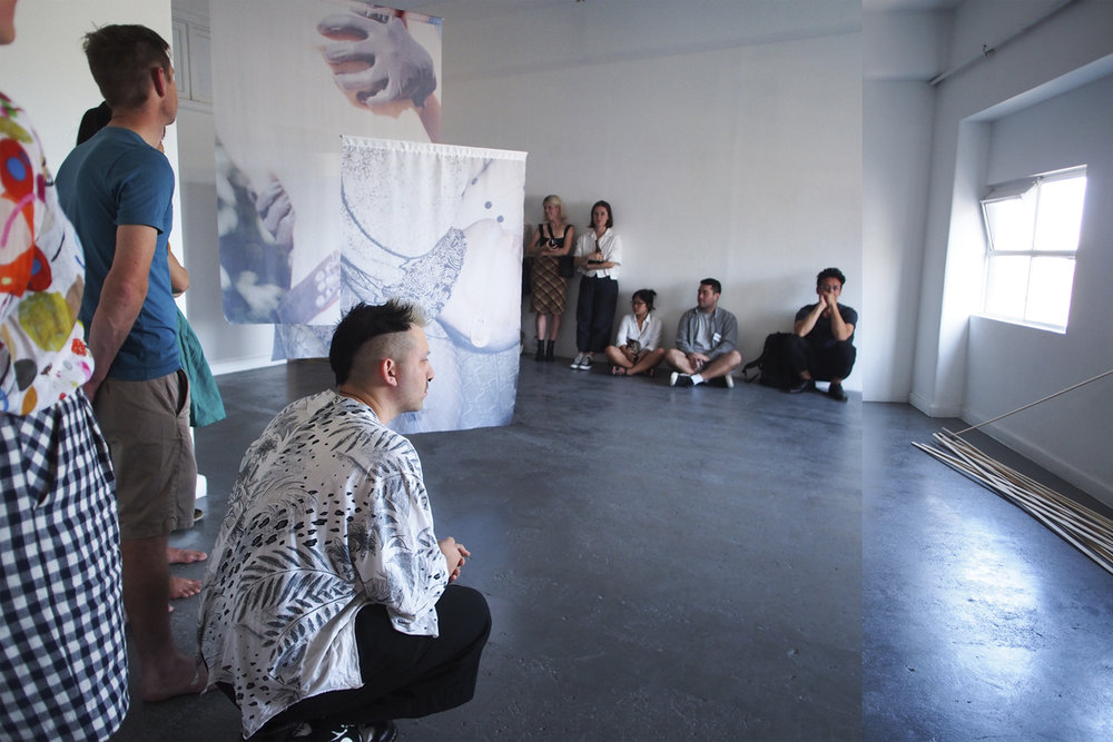 Anticipation is Half of the Seduction,  BLINDSIDE, 2018, opening with art work by Shannon May Powell + live enaction by Helen Grogan + Isabella Whāwhai Waru. Photo Eliza Tiernan   Courtesy the artists and curator.