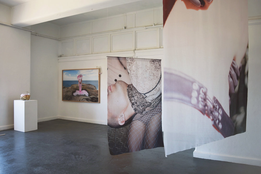 Honey Long + Prue Stent, Shannon May Powell + Marley Sheridan,  Anticipation is Half of the Seduction,  BLINDSIDE 2018   Photo Nina Rose Prendergast. Courtesy the artists and curator and Arc One Gallery, Melbourne.