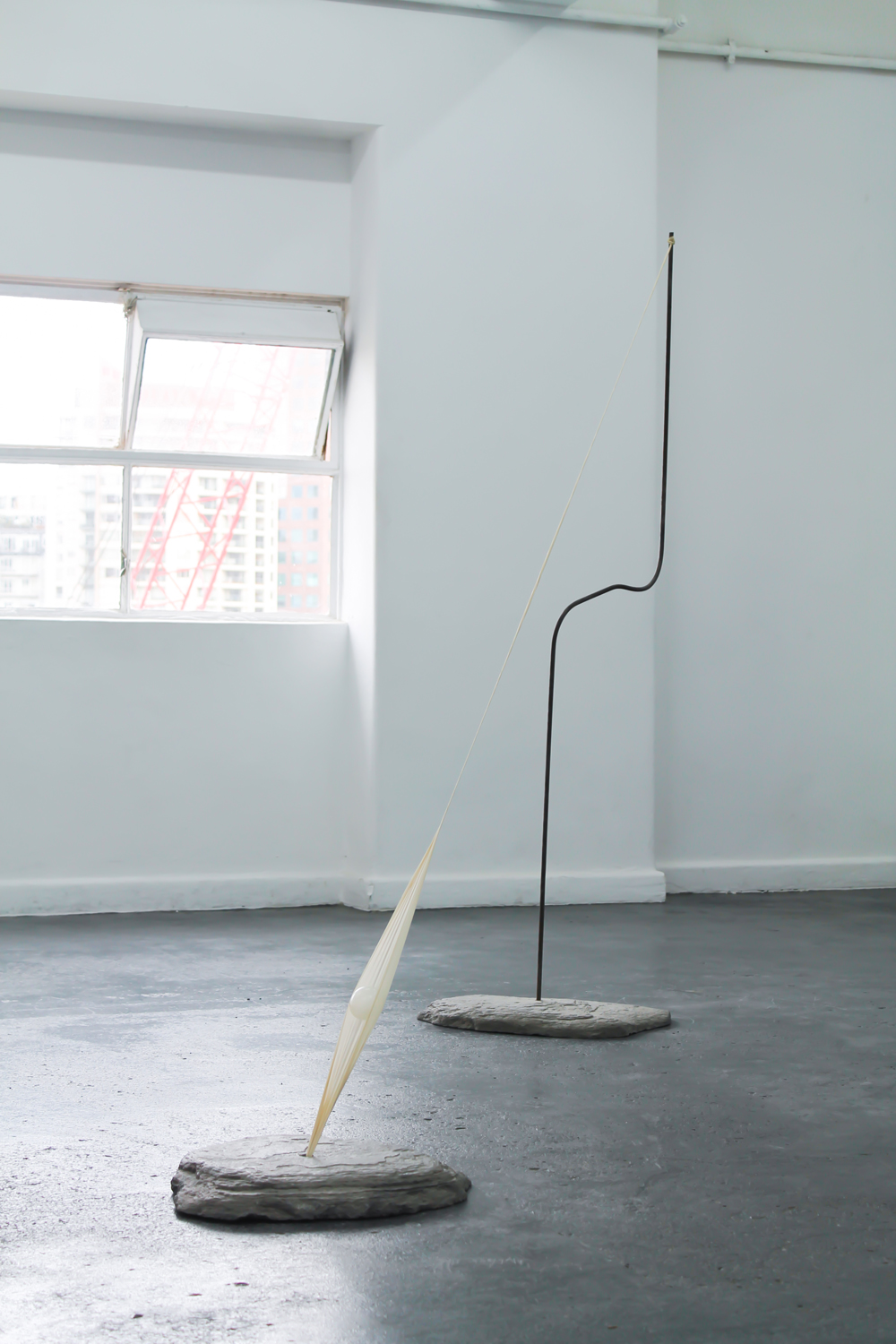 Torin Francis,  Objects in Motion , BLINDSIDE 2019, installation detail, Concrete, steel and weather balloon, dimensions variable | Courtesy the artist.