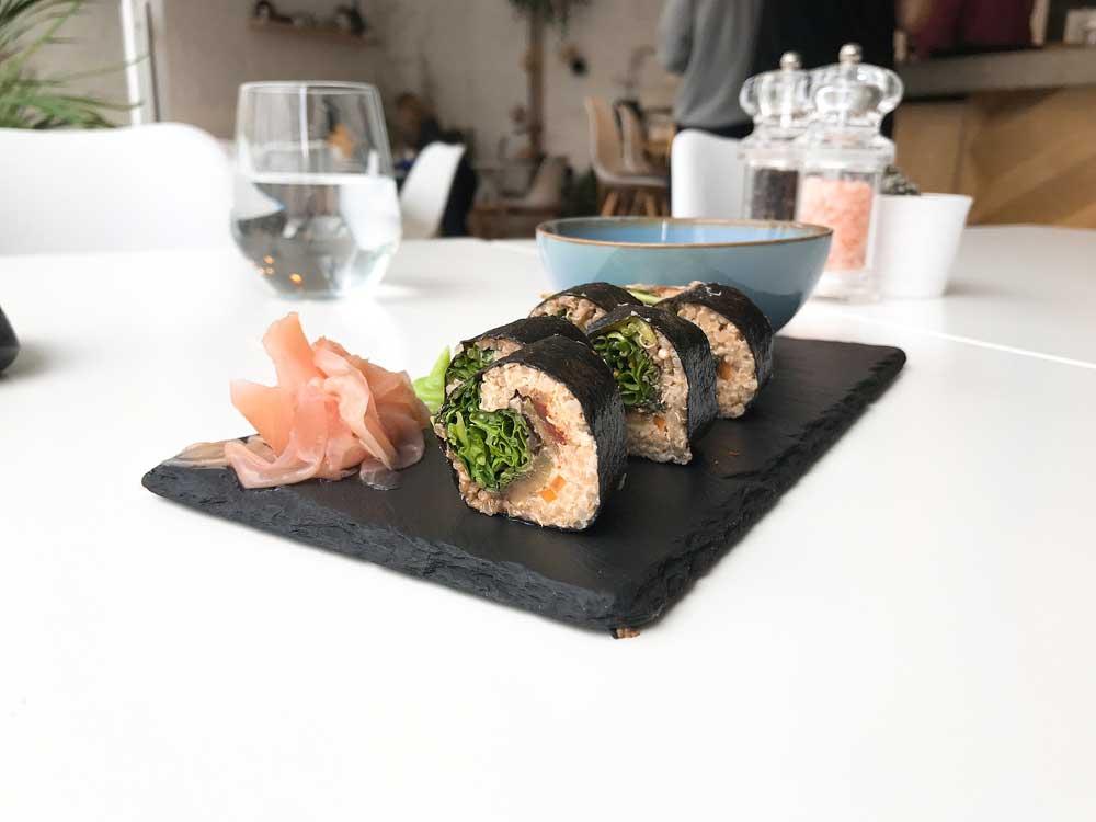 Vegan sushi with quinoa & veggies