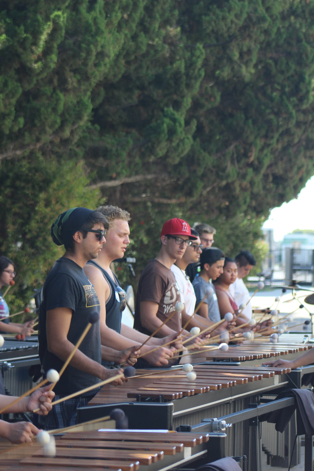 Front Ensemble Auditions with Vets Angel Abonza, Tyler Miller & Tia Barrera  PC: S. Woodard