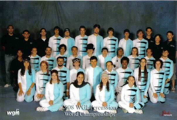 """Year #1 for Dark Sky was 2008 performing """"Fresh Snow"""" as a PIO from Flagstaff, AZ  The many """"Page Connections"""": Chris Elias - top row 2nd from left (Page percussion instructor while attending NAU, 2008 Sinagua HS Band Director, DSP Board Member), David Authement - top row 3rd from left (Page HS percussion instructor), Sean Oviedo - top row 7th from left (Page HS student),  Jordan Bumguardner  - top row 6th from right (Page HS alumni), Jon Mlyenek - top row 5th from left (Page instructor), Seth Woodard - top row 3rd from right (Page senior/alumni & composer, DSP Creative Director & Founder), Sharon Woodard - top row 2nd from right (Page HS Band & Indoor Percussion Director, DSP Executive Director & Founder), Tanner Woodard - top row right (Page alumni & instructor, DSP drill writer, instructor & Founder),  Megan Parks Tiller  - row 3, 2nd from left (Page alumni), Anthony Pettit row 3, 3rd from left (Page alumni), Robert Batorski - row 3, 5th from left (Page alumni, DSP media & graphic designer), Darin Dacey - row 3 right (Fun Fact: Darin's mother is a Page HS alumni),  Whitney Hansen  - row 2 left (Page alumni), Kendra Oviedo - row 2, 4th from right (Page student), Chelsey Bartholomew - row 2 right (Page alumni, Fun Fact: Chelsey works at Dark Sky Brewery in Flagstaff),  Jessica Drella  - row 1, 2nd from left (Page senior/alumni),  Shelby Fisher Cheney  - row 1, 2nd from right (Page alumni)"""