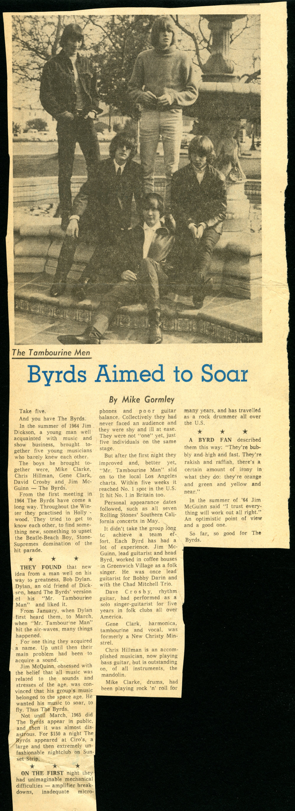 -Story on the Byrds by Mike Gormley from Ottawa Journal