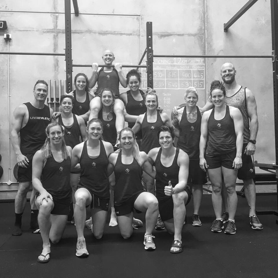 The Canadian Women's Rugby 7s team training at Live Athletic in preparation for the 2018 Sydney Sevens.