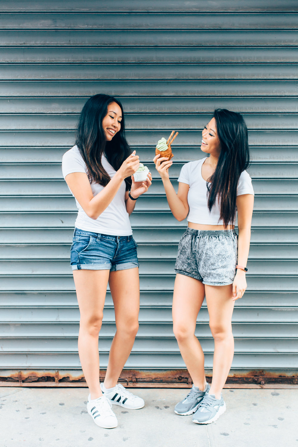 Karen (left) and Elena (right) trying Taiyaki NYC for the very first time.