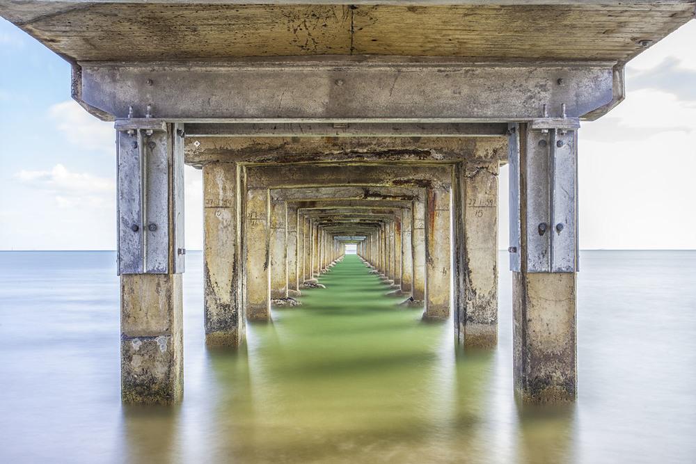 Peering underneath Dromana Pier, Victoria