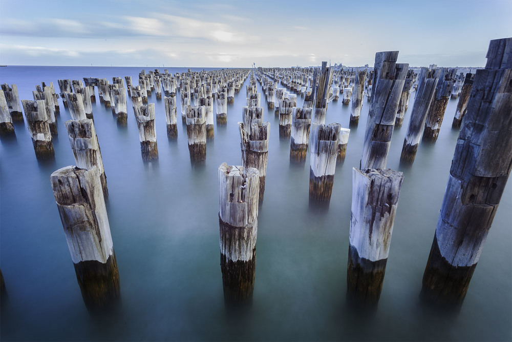 The Port Melbourne pylons, a popular spot for photographers
