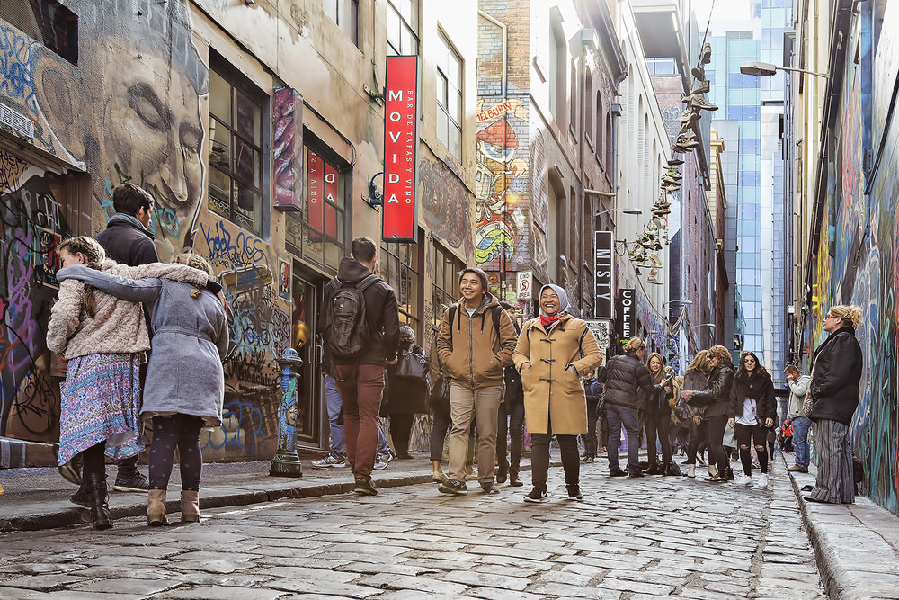 Hosier Lane, Melbourne. A bustling and exciting place to visit
