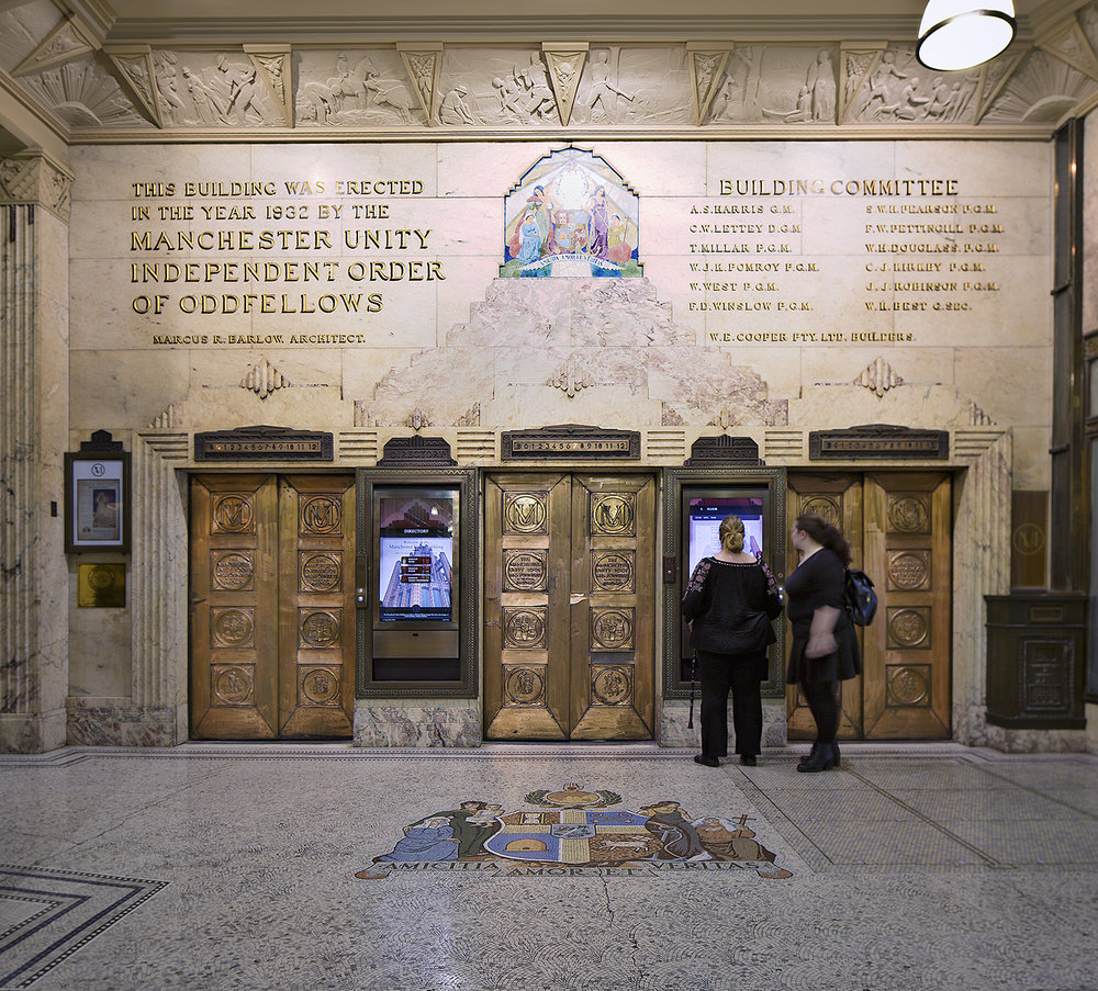 The stunning lifts at the Manchester Unity Building, Melbourne