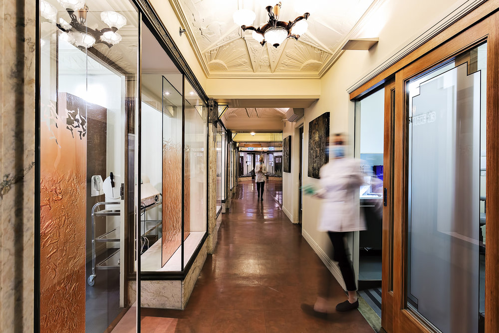 The unique hallways of Smile Solutions in the Manchester Unity Building.