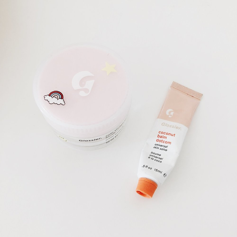 Glossier's Priming Moisturizer Rich has been my dry skin's savor. I apply it twice a day in the winter and it leaves my skin feeling hydrated, smooth, and glowy. & Balm Dotcom is the  only  lip balm I've tried that  actually  keeps my lips moisturized. I swear by it.