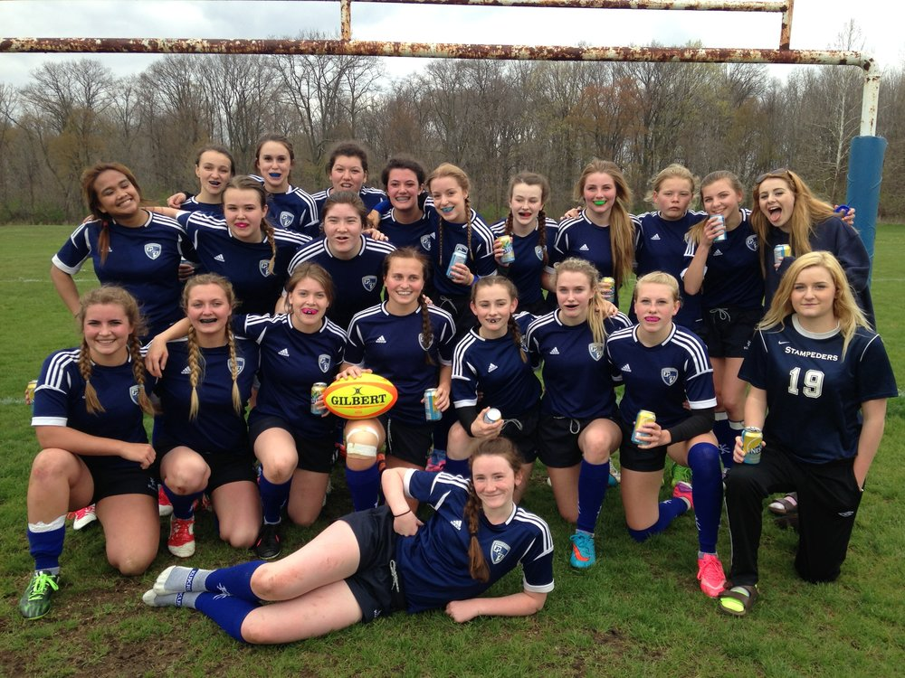 2016 Parkside Girls Rugby team - after our first win on our home field!