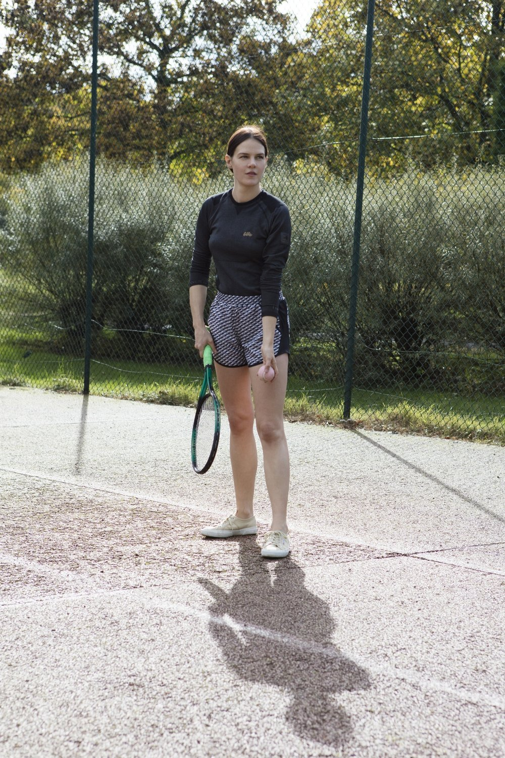 Top: Odlo. Shorts: Under Armour. Shoes: Superga. All Images by Corinne Stoll.
