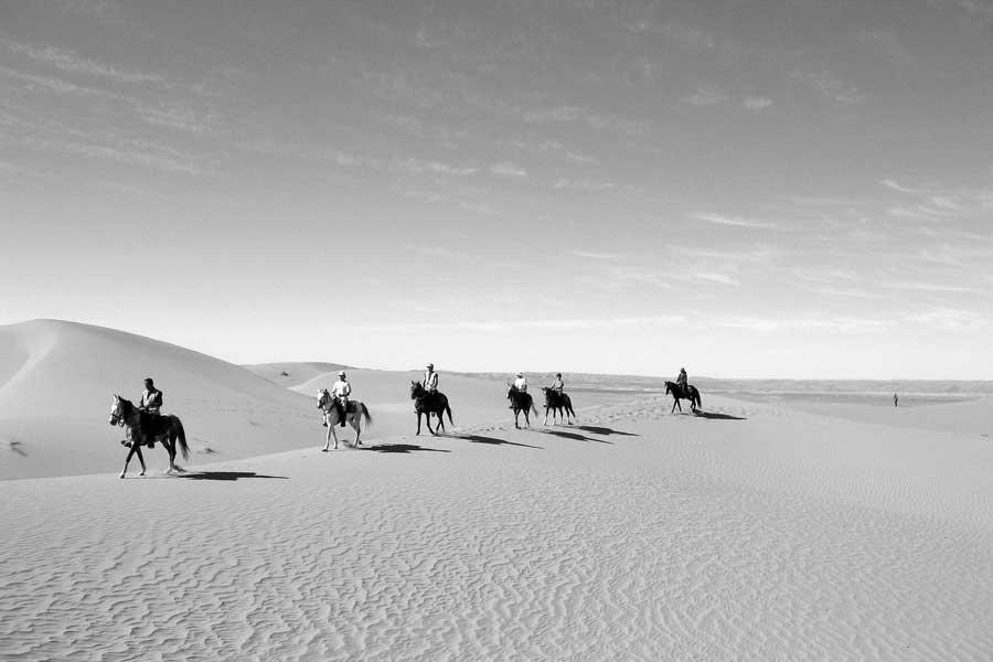 A horseback riding trek across the Sahara Desert