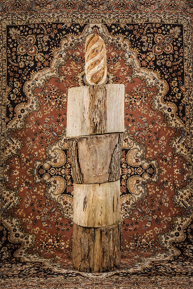 Object Studies    A Carpet, Four Logs  and a Loaf of Bread  2017 120cm x 80cm