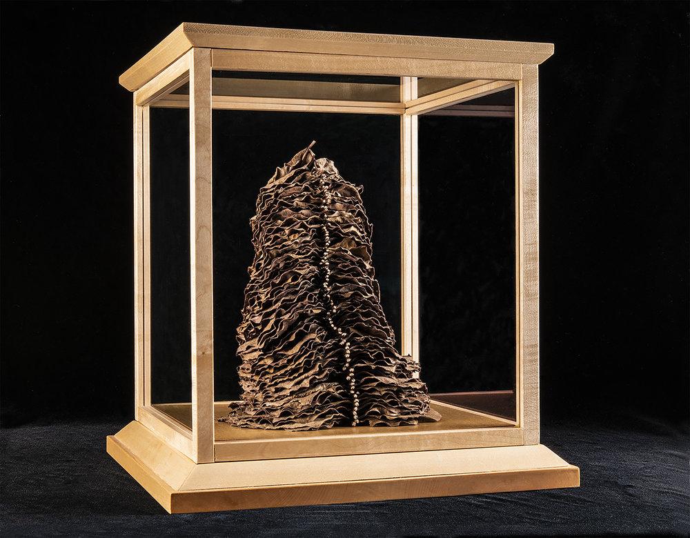 Object Studies    Artefact  2018 (Catalpa leaves, rock maple frame, and Museum glass) 38cm x 35cm x 35cm