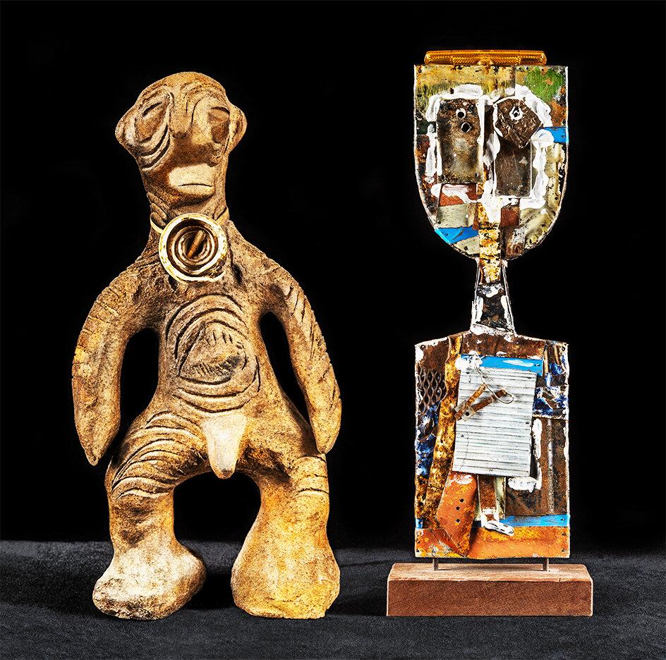 Duologues    Men  2018 (New Guinea clay figure &  Kachina Series: 'Sufi'  by Ondrej Máres, Adelaide) 63cm x 66cm