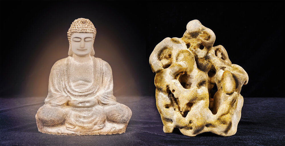 Duologues    A Stone Buddha & A Stone  2018  (found objects) 36cm x 70cm