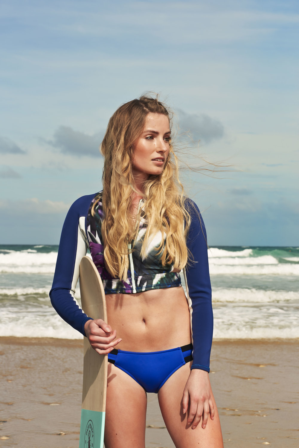 Roxy Rash guard, Seafolly bottoms and a Belly board by Dick Pearce