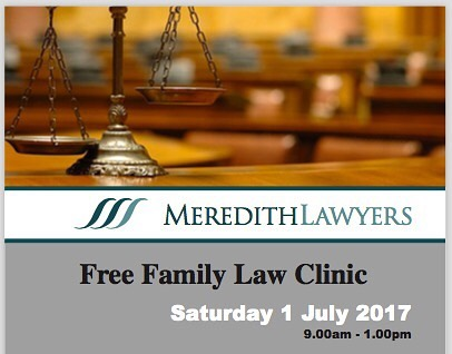 Meredith Lawyers are holding a Free Family Law Clinic this Saturday, 1 July 2017.⠀ Get in touch & book a free consultation... But hurry as spots are filling fast.⠀ Check out our blog post for more info... Link in Bio 👍