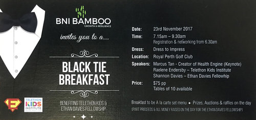 BNI Bamboo would like to invite you along to our 2017 Black Tie Breakfast,  a Business Breakfast Event like no other