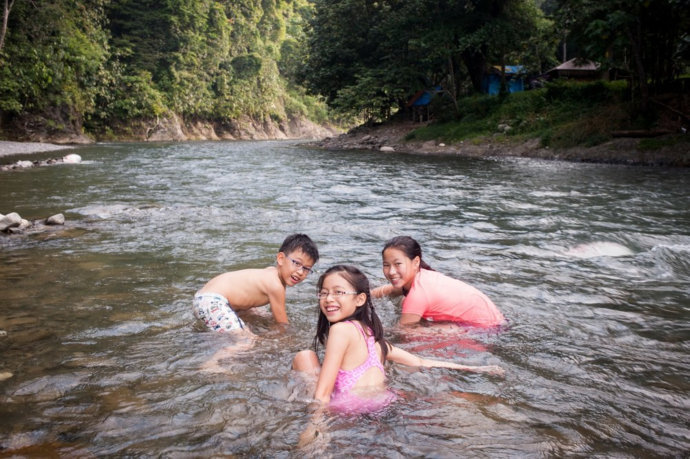 The Bukit Lawang River is clean, shallow and cool. Perfect for the kids.