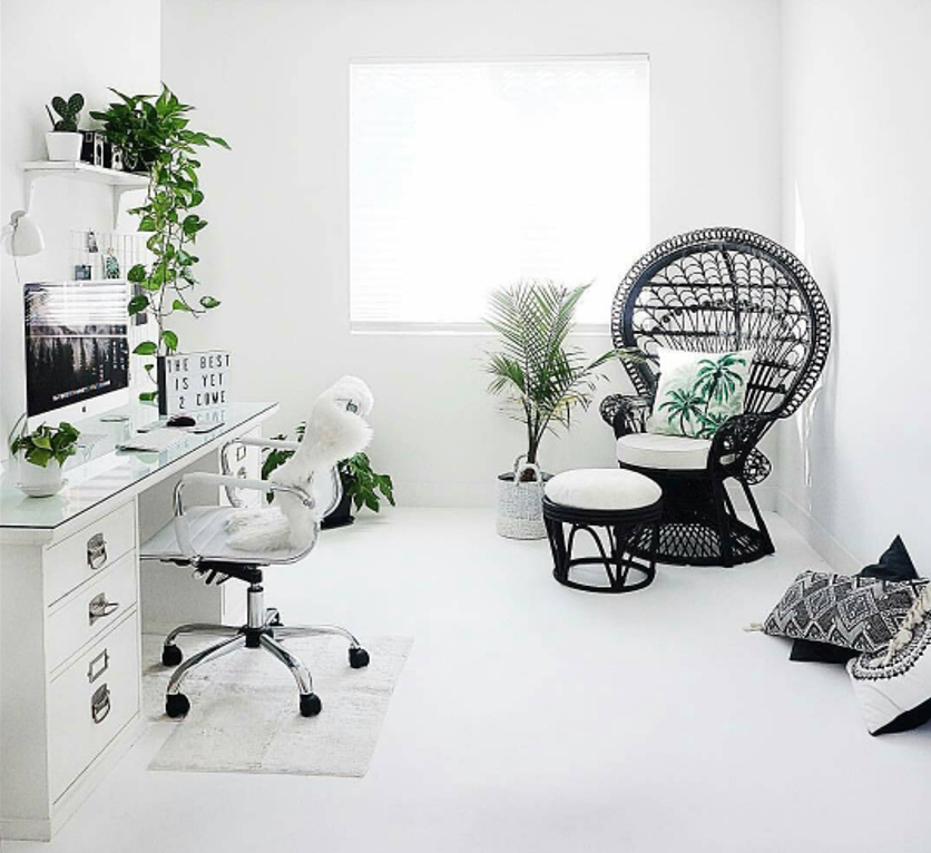 A little or a lot of greenery is essential for healthy living.  With air purifying properties, why stop at just one plant?!  Image courtesy of the.little.grey.house via The Workspace Stylist.