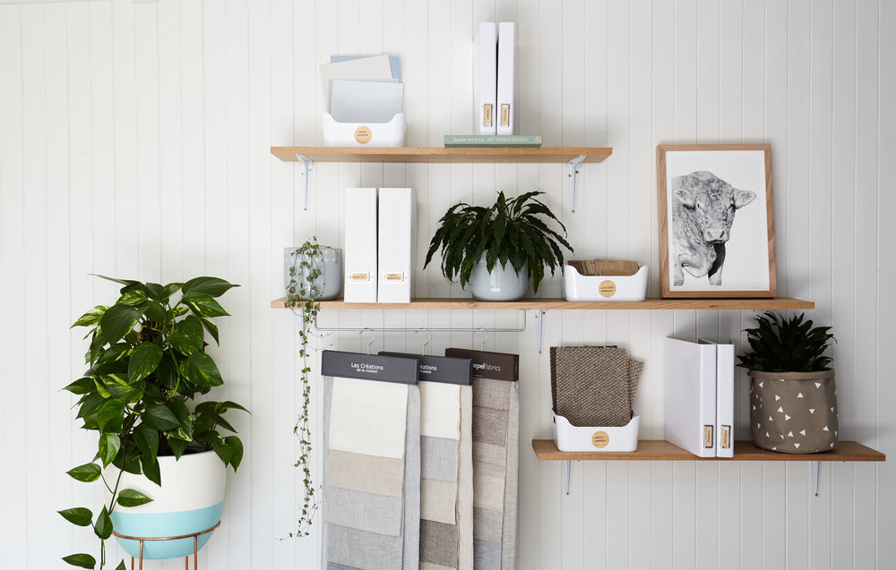 Shelves, files, folders, containers... whatever your needs, aim for a coordinated colour scheme. With plenty of matchy-matchy stationery around you're sure to find the perfect mix. This selection in the studio is from Kikki-KInterior decoration & styling: Maitland Street Interiors, Pic: Stephanie Rooney