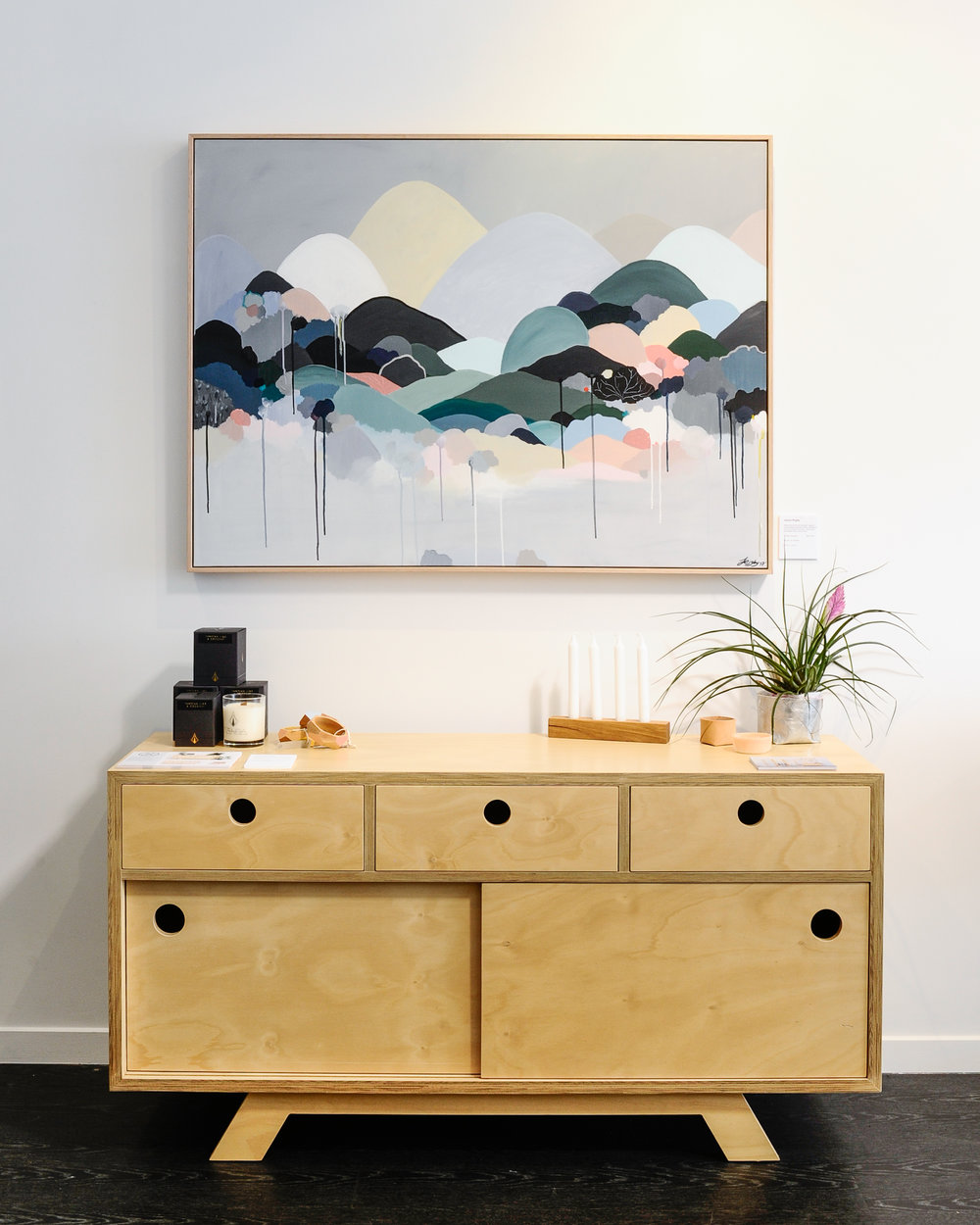 The Felix Furniture 'Rocco Side Board' is constructed with Australian grown Hoop Plywood, honouring the beauty of the wood grain. Image credit : Haley Kigbo