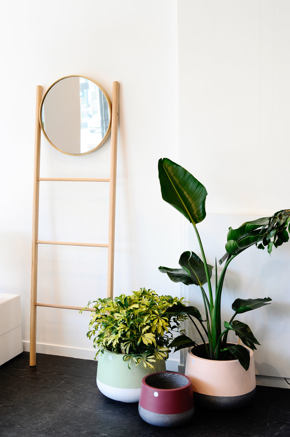 The 'Cuba Mirror Ladder Rack' designed by Lucy and crafted by Adam from Beeline Design. Image credit : Haley Kigbo