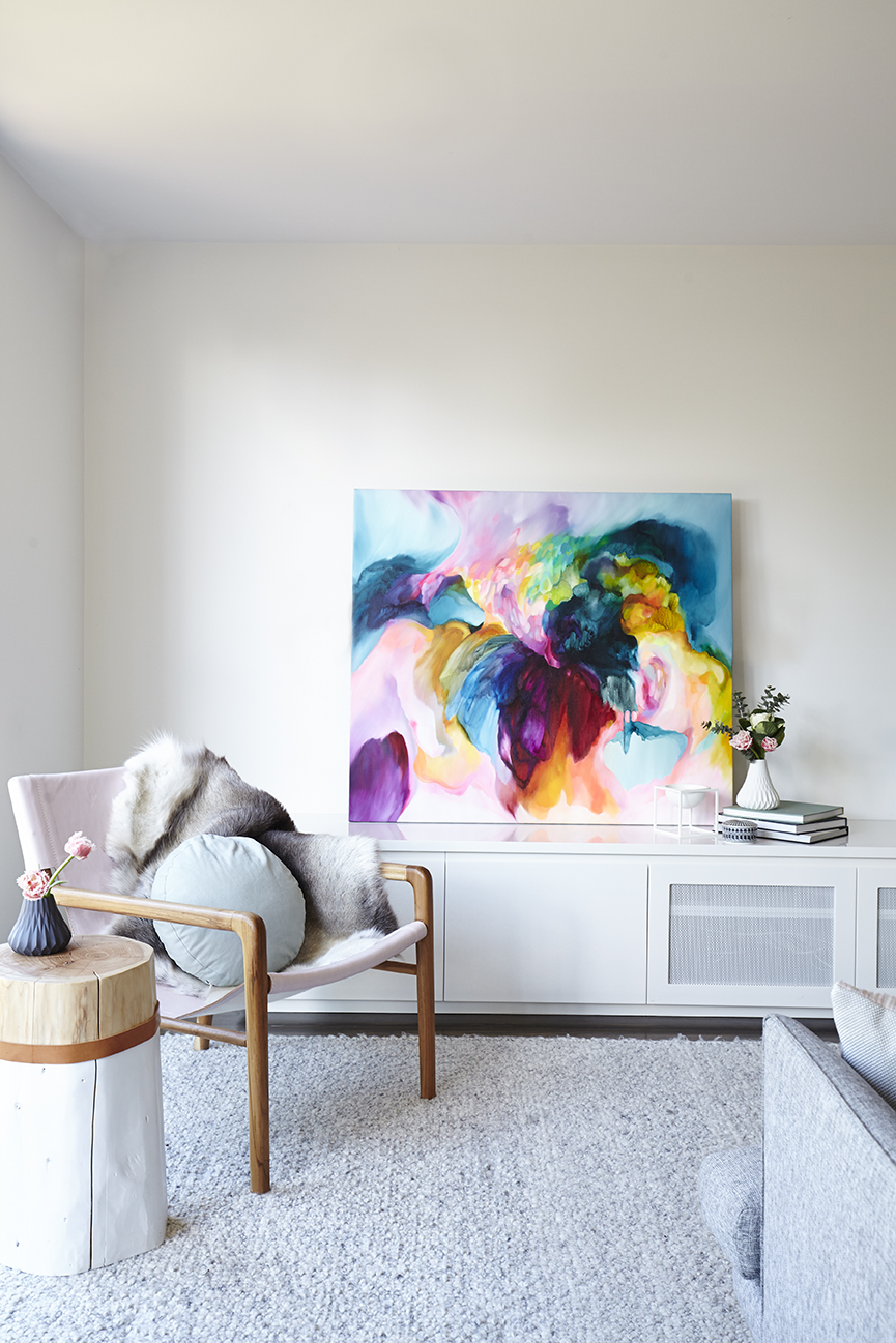 Maitland Street Interiors, Sarah Elshaug, Interior Stylist Melbourne, The Glen Iris Project, Jewels Stevens, Original Artwork, Scandi Living Room