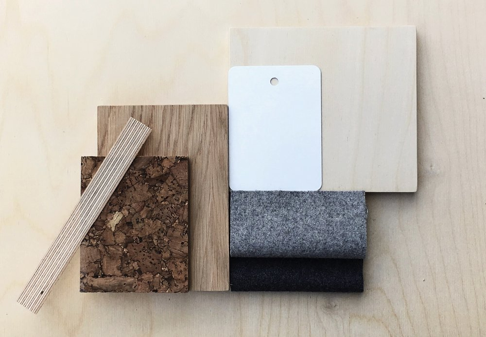 Materials palette by Felix Furniture featuring their signature plywood and cork.