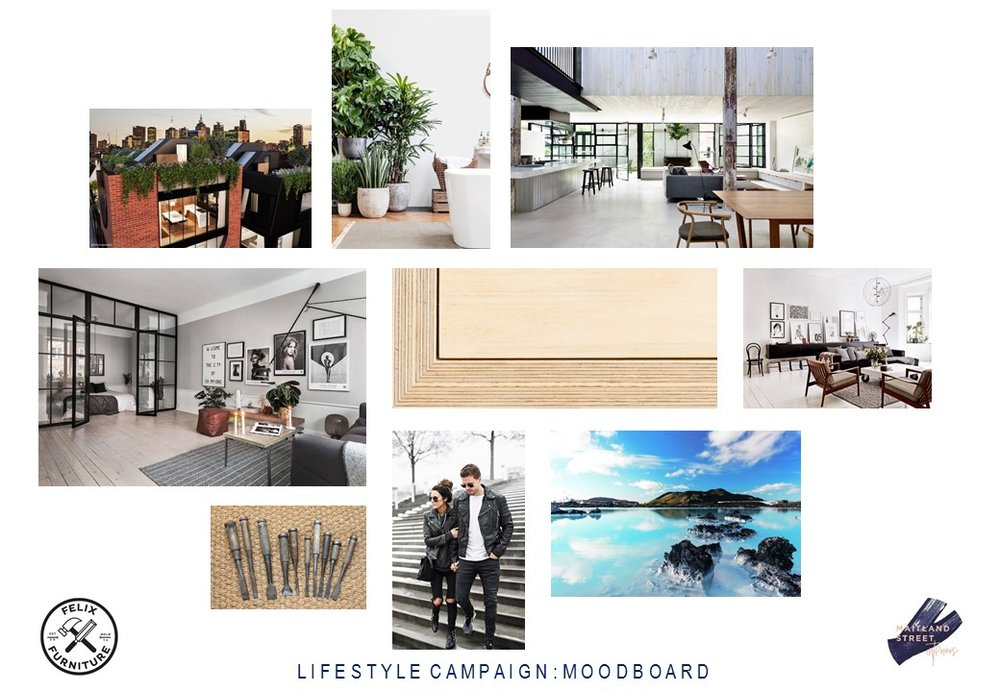 The Felix Furniture mood board by Maitland Street Interiors is all about monochromatic Industrial/Scandi stying, reflecting Felix's edgy, cool and urban vibe.