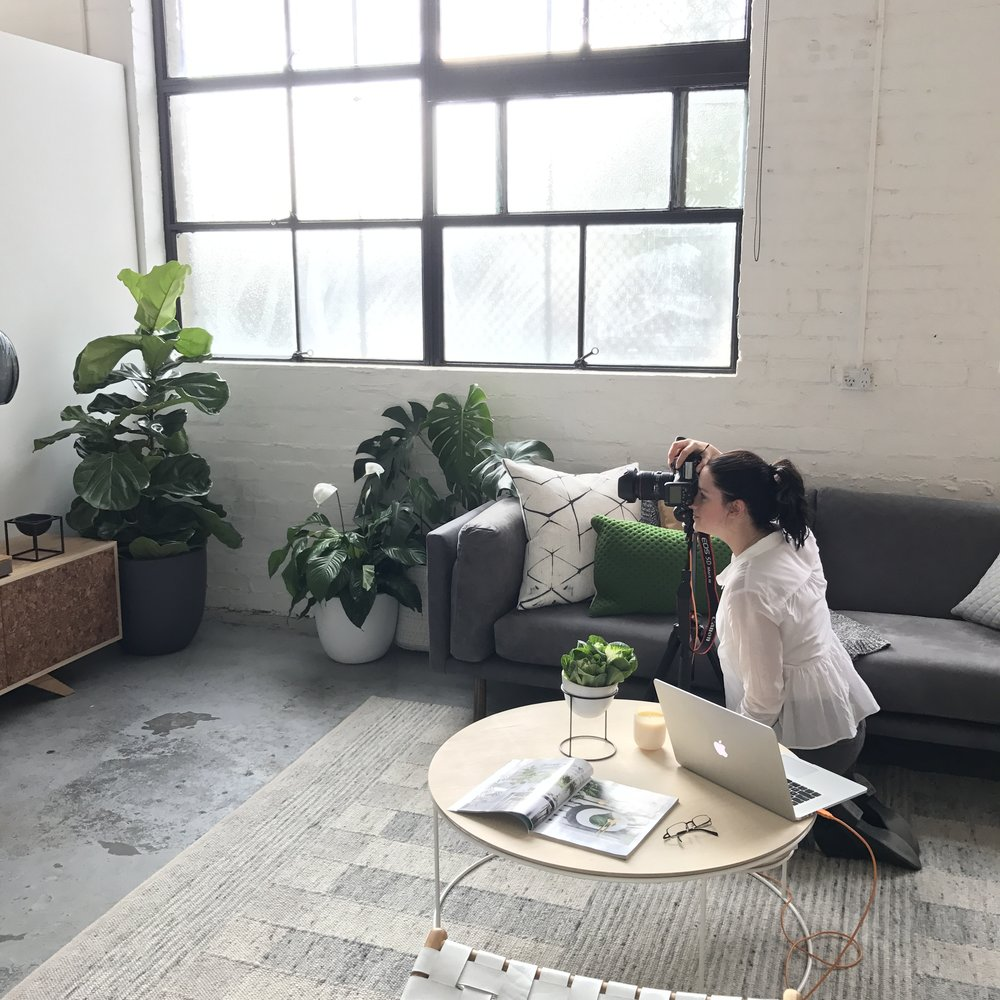 Behind the scenes on shoot day…photographer Stephanie Rooney capturing all the details in the living room. Interior Stylist: Sarah Elshaug, Maitland Street Interiors.
