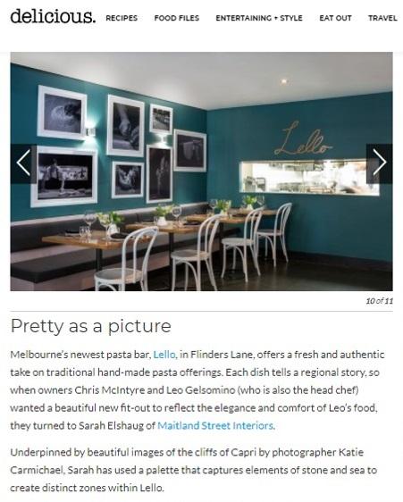 Lello Pasta Bar, Maitland Street Interiors, Sarah Elshaug